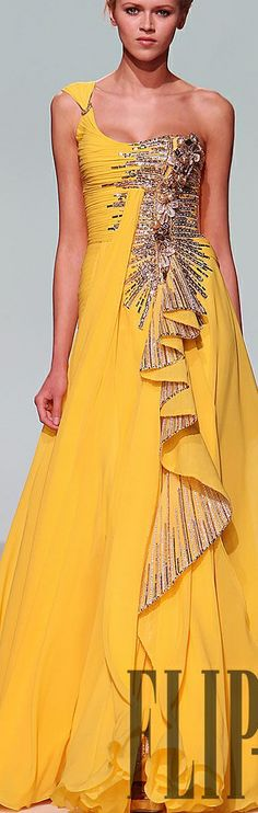 Long Yellow Gown with Gold Accents Beautiful Gowns, Beautiful Outfits, Maxi Outfits, Ballroom Dress, Yellow Fashion, Event Dresses, Mellow Yellow, Yellow Dress, Couture Fashion