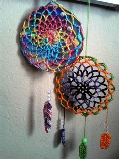 croche dreamcatchers (filtro dos sonhos )com base no CD ( DIY )