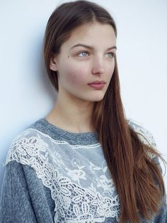 Add lace to a plain jumper or sweatshirt for a pretty feminine look (inspiration only)