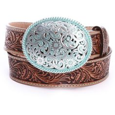 Justin Womens Filigree Belts Brown ($53) ❤ liked on Polyvore featuring accessories, belts, western belts, brown belt, leather belt, brown western belt and genuine leather belt