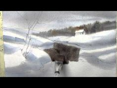 How to paint snow on wet paper in watercolor