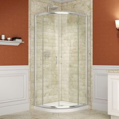 Kinda like the look of a round glass corner shower. DreamLine, Solo 36 in. x 36 in. Sliding Shower Enclosure in Chrome with Quarter Round Shower Base, at The Home Depot - Mobile Shower Base, Shower Floor, Glass Shower, Shower Stalls, Bathtub Shower, Bathtub Enclosures, Frameless Shower Enclosures, Corner Shower Kits, Corner Showers