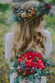 Bohemian wedding style - bridal bouquet #2014 Valentines day wedding #Summer wedding ideas www.dreamyweddingideas.com