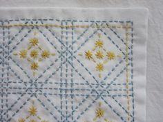 【オーダー品:ichizu1203様専用】刺し子の布巾(枡刺し/水色×黄色)