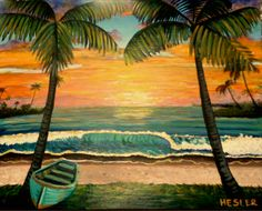 Sunset In Hawaii by BeachDecorStore on Etsy Selling Art Online, Paint Designs, Original Artwork, Hawaii, Display, Sculpture, Sunset, Drawings, Handmade Gifts