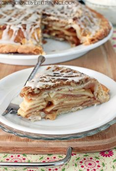 Upside-Down Streusel Apple Pie ~ Thinly sliced apples encased between two layers of flaky crust topped with caramel walnuts and a sweet glaze. It tastes like apple pie meets streusel cake.