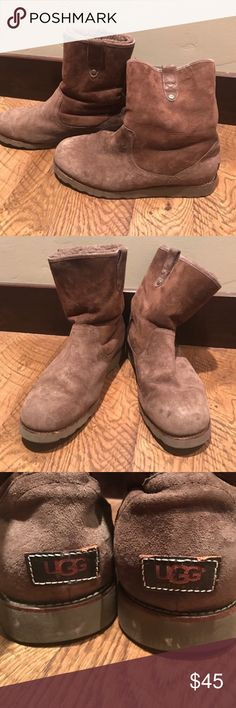 Brown Uggs with Vibram sole Uggs with Vibram sole. I don't know the exact size, but they are 12.5 in long when measured from the bottom. Good used condition with lots of life left. Men's or women's UGG Shoes Winter & Rain Boots