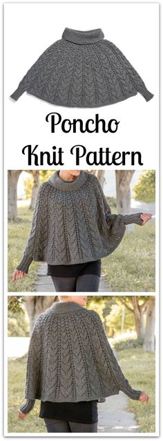 A stylish poncho ready to go wherever you go! This flowing poncho of mixed texture is knitted in the round, shaped by gradually expanding lace patterns, to create a luxurious and stylish classic. #ad #affiliate #knitting #pattern #knittingpatternsponcho