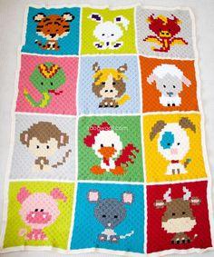 Zoodiacs c2c Crochet Afghan - free crochet patterns | www.1dogwoof.com