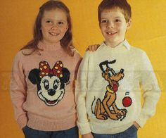 vintage Adult and Childs MINNIE Mouse & PLUTO jumper by borisbeka, $3.75