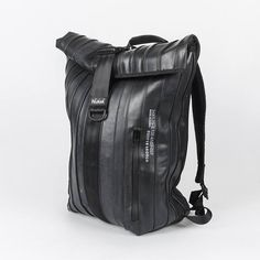 Spanish upcycle design company Nukak designed and created an amazing Rolltop Backpack made out of upcycling bicycle and truck inner tubes.