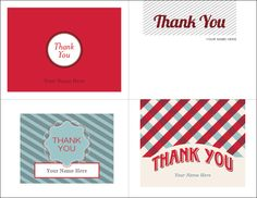 Printable Christmas Thank You Cards