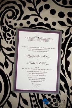 silver purple white wedding invitation ideas