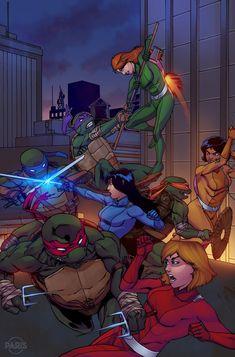 Totally Spies by ParisAlleyne on DeviantArt Ninja Turtles Art, Teenage Mutant Ninja Turtles, Spy Girl, Black Comics, Sailor Moon Wallpaper, Totally Spies, Cartoon Crossovers, Fanart, Cartoon Wallpaper