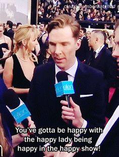 Benedict on Ellen hosting the Oscars (he's happy ;D)