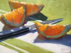 Oranges with knife 6x8 Timothy Horn 2016