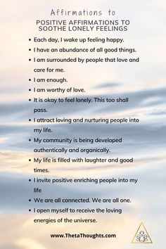 Positive Affirmations when Feeling Lonely