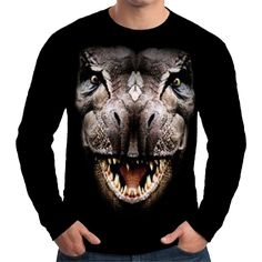 Velocitee Mens Long Sleeve T Shirt T Rex Big Dinosaur Head Face A18267 #Velocitee