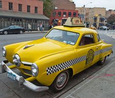 Old New York Studebaker Taxi, Greenwich Village, NYC Yellow Car, Color Yellow, Service Bus, Auto Business, New York Taxi, Automobile Companies, Cab Driver, Greenwich Village, Commercial Vehicle