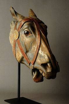 seraphs-embrace: Vintage carousel horse head carving/sculpture by unknown. seraphs-embrace pls don't remove credit/alter/copy tysm u r a ☆ (via trestleworks) Horse Head, Horse Art, Wooden Horse, Painted Pony, Horse Sculpture, Carousel Horses, Equine Art, Wood Carving, Folk Art