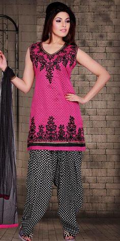 $118.82 Pink Art Silk Thread Work Punjabi Salwar Suit 25103