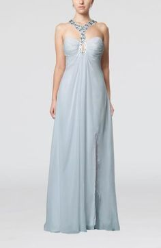 Halter Elegant Guest Dress - Order Link: http://www.theweddingdresses.com/halter-elegant-guest-dress-twdn7239.html - Embellishments: Beaded , Pleated , Split-Front; Length: Floor Length; Fabric: Chiffon; Waist: Empire - Price: 136.99USD
