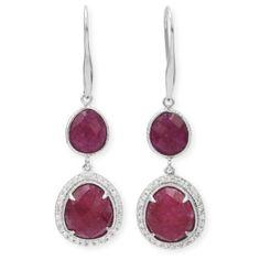 Double Ruby Drop Earrings