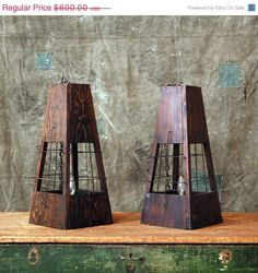 SALE 1940s Wood Lantern Lamps // Hanging Lights. $450.00, via Etsy.