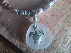 "SEA Turtle Sea Glass Jewelry Necklace 19.5"" Beaded Strand Handmade BEACH Hawaii #Handmade #Pendant"