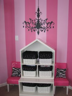 Pink And Black ~ cute storage!!!  :D...  Walls would work great as Nursery first!