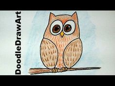 ▶ How To Draw an Easy Wise Old Owl Cartoon - Beginner Drawing Lesson for Kids! - YouTube 4:08