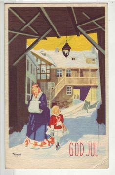 God Jul- (mor og datter handler) sign. Thorsrud. Børrehaug og Remen Norway, Christmas Postcards, God, Baseball Cards, Sign, Fictional Characters, Dios, Signs, Allah