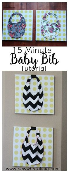 15 Minute Baby Bibs Tutorial: This quick sewing project is great for beginners. Click through to see the full tutorial and a video walkthrough! These would make great gifts for a new baby. | www.sewwhatalicia.com