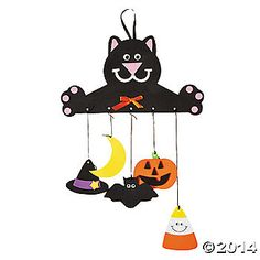 Halloween Mobile Craft Kit, Decoration Crafts, Crafts for Kids, Craft & Hobby Supplies - Oriental Trading Halloween Crafts For Kids, Halloween Boo, Halloween Projects, Holiday Crafts, Holiday Fun, Happy Halloween, Holiday Ideas, Halloween Costumes, Fall Crafts For Toddlers