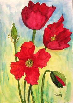 """""""Poppies"""" 5""""x7"""" Watercolor painting by Tracy """"Tandy"""" Anderson for ATCs for All. Click to view original"""