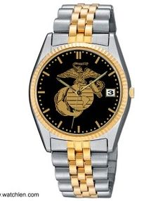 Aqua Force Marine Corps Insignia Two Tone Stainless Steel Dress Watch Stainless steel strap water resistant (suitable for everyday use, splash resistant) brass case Stainless steel back Date Two year manufacturer warranty Usmc Love, Tactical Watch, Us Marine Corps, Watch Companies, Gold Watch, Watches For Men, Aqua, Stainless Steel, Marines