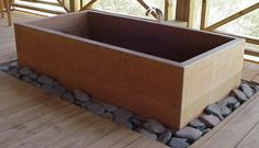 Wood Bath Tubs : Ofuro Soaking Tubs & Hinoki Soaking Tubs at RHTubs Concrete Bathtub, Wooden Bathtub, Wood Bath, Wood Tub, Concrete Wood, Japanese Bathtub, Japanese Soaking Tubs, Japanese Shower, Japanese Bath House