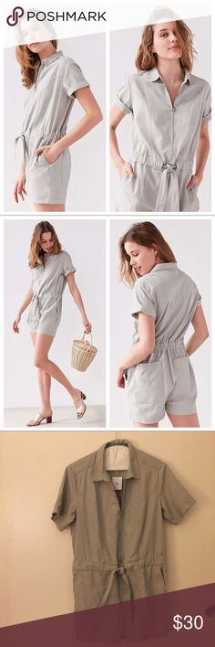 Bdg Rosie light green/gray coverall romper Nifty throwback style coverall romper with a circle zip-front, by BDG. Soft yet sturdy cotton twill in an all-in-one relaxed-fit with a defined waist with tie to cinch. Cute light green/gray color. Collared, short sleeve and two front and two back pockets. Urban Outfitters Pants Jumpsuits & Rompers