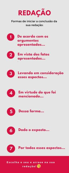 Dicas para quem está sem ideias pra concluir a redação!  #Enem #redação #estudos Portuguese Grammar, Portuguese Lessons, Learn Portuguese, Study Apps, Mental Map, Study Board, Study Organization, Study Planner, Learn English Words