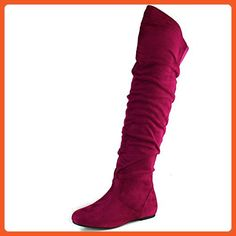 6c19edc1075 DailyShoes Womens FashionHi OvertheKnee Thigh High Flat Slouchly Shaft Low  Heel Boots Fuchsia SV 65 BM US    Check out the image by visiting the link.  (This ...