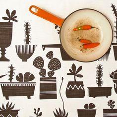 Tea towel  Succulents in Marrakesh Brown by skinnylaminx on Etsy, $17.70