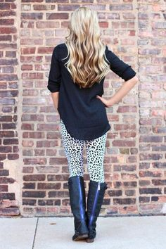 She posts Business Casual work outfits and where to find everything (from Target, to Macys). This will be great for when I have to update my closet soon! casual work outfits, cheetah, printed leggings, black boots, leggings outfit for work, animal prints, closet, business casual, leopard prints
