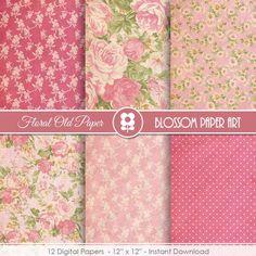 Pink Floral Digital Paper Shabby Chic Digital Paper Pack | Etsy Shabby Chic Flowers, Shabby Chic Crafts, Vintage Scrapbook, Scrapbook Paper, As You Like, Cardmaking, Decoupage, Floral, Background Vintage