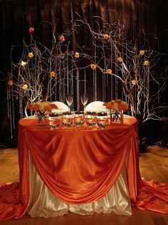 Rich and luxurious orange satin tablecloth