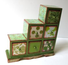 Shabby Chic Green Asymmetrical Treasure Box Trinket Box Jewelry Box