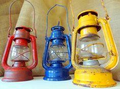 Vintage Lantern Trio - Railroad Lantern Trio Vintage Railroad Kerosene Winged Wheel No. 350 Made in Japan Metal and Glass Blue Red Yellow