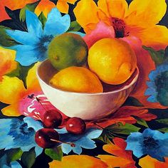 Cherry Surprise, Fruit and Floral Still Life Oil Painting by Marina Petro