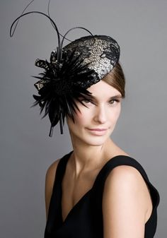 Black and white lace beret with feather flower