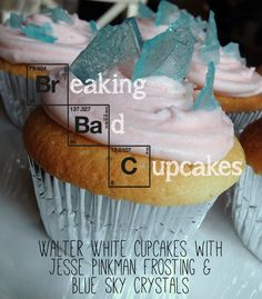 Walter White Cupcakes with Jesse Pinkman Frosting and Blue Sky Crystals.  A dramatic dessert made from scratch that's easy on the eyes and quite addictive!
