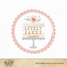 Items similar to Premade Cake stand logo with watercolor flower, lace doilies and Gold foil text on Etsy Bakery Business Cards, Cake Business, Watercolor Logo, Watercolor Flowers, Cake Branding, Bakery Packaging, Pastry Logo, Cupcake Logo, Cake Logo Design